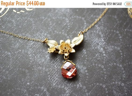 25OFFSALE Necklace Gold Necklace Crystal by storygirlcreations