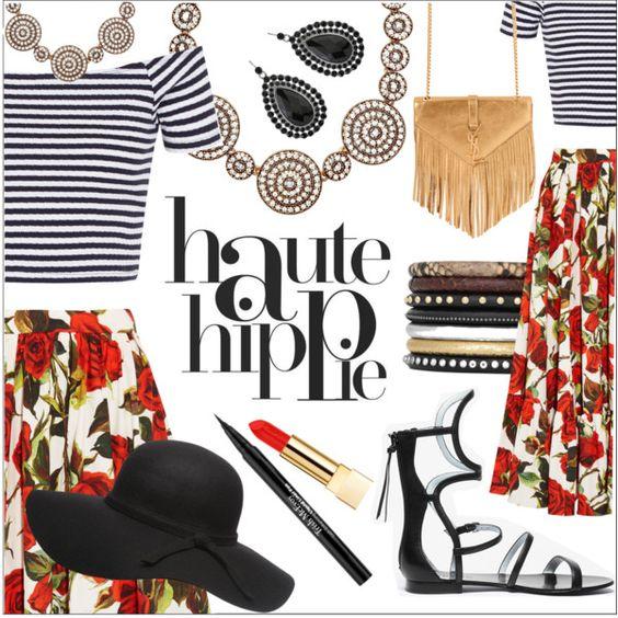 Haute Hippie by ivansyd on Polyvore featuring Dolce&Gabbana, DANNIJO, Yves Saint Laurent, Oscar de la Renta, 1928, Dorothy Perkins, PUR, Trish McEvoy, Haute Hippie and maxiskirt