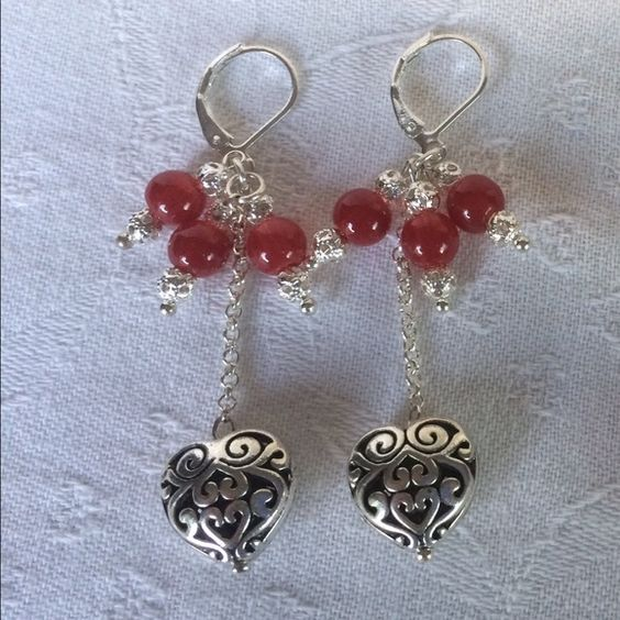 New!Earrings in Indian Silver and Red Agate New!Earrings in Indian Silver and Red Agate with Silver 925 hook Jewelry Earrings