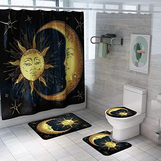 Yuwj 4pcs Sun Moon Bathroom Set Waterproof Shower Curtain Non Slip Mats Bath Carpets Toilet Sea Bathroom Shower Curtains Elephant Shower Curtains Toilet Covers