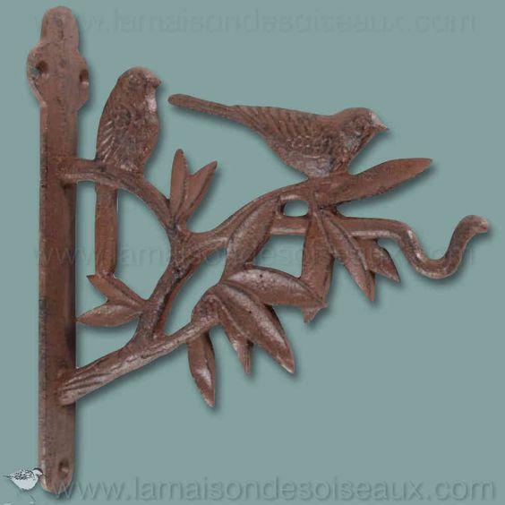 Potence crochet oiseau en fonte decoration jardin for Oiseau decoration jardin