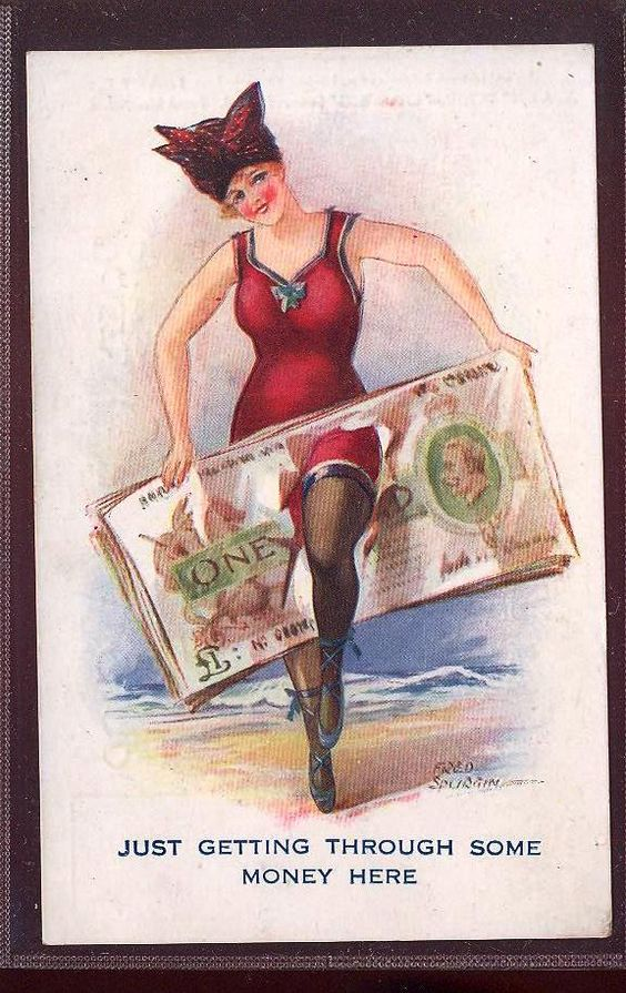 Bathing Beauty in 1910's Swimming Suit humour signed Fred Spurgin .money note.gla267: