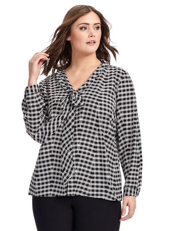 Blouse In Black & White Check by Tahari ASL  Available in sizes 1X-3X