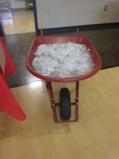 Cool beverages in a wheelbarrow with ice