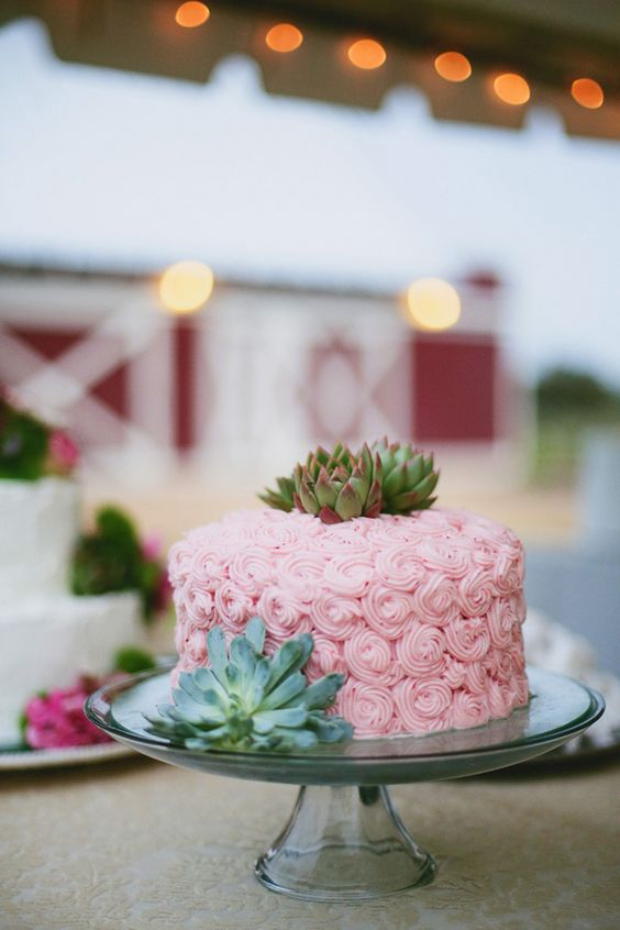 pink #wedding #cake with succulents! | Morgan Trinker