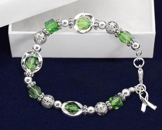 Green Bead and Silver Circles Green Ribbon Bracelet