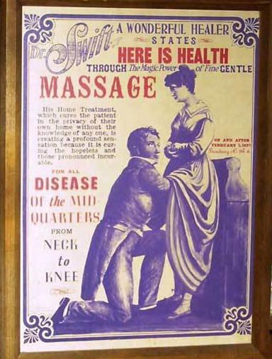 "Vintage Vibrator Ad. The first vibrators were developed for doctors to treat hysteria, and who could more quickly deliver the curative ""hysterical paroxysm"" (orgasm), after which the patient would feel very much improved for a time.:"