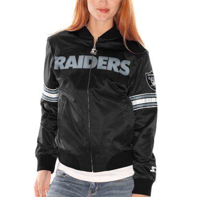 Oakland Raiders Womens Starter Blitz Satin Jacket - Black | Satin ...