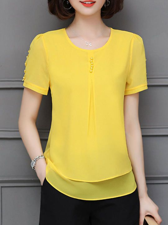 Women Stitching Short sleeve T-Shirt Lace O-neck Blouse Tops Casual Solid Summer