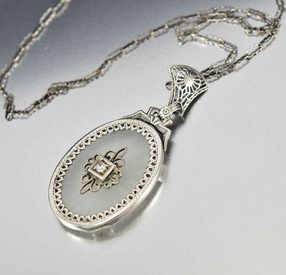 Art Deco 14K Gold Diamond Rock Crystal Necklace