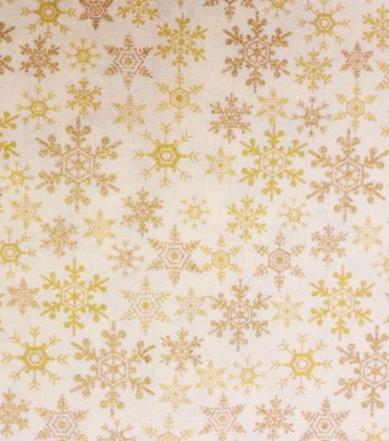 Holiday Inspirations Christmas Fabric-Flakes On Tan Metallic & Holiday Fabric at Joann.com