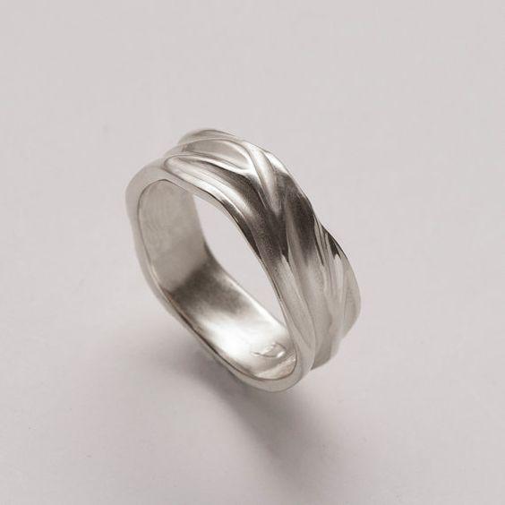 Dune No.2 - Sterling Silver Ring , Unisex Ring , Wedding Ring , Wedding Band, Free Shipping