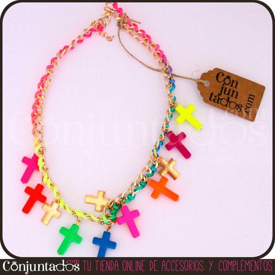 Nuestros collares de cruces multicolores alegran el outfit más apagado. ¡Destila buen rollito y alegría a un precio increíble! http://www.conjuntados.com/collares/collar-multicolor-con-cruces-neon.html #necklaces #fashion #accesorios #complementos #bisuteria #jewelry #bijoux #shopping #trendy #tendencias #tendances #moda #estilo #style #PymesUnidas