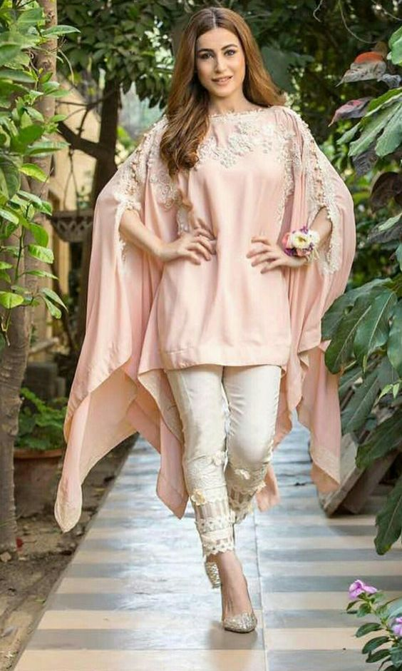 Stitching Styles Of Pakistani Dresses Pink Cape style shirt