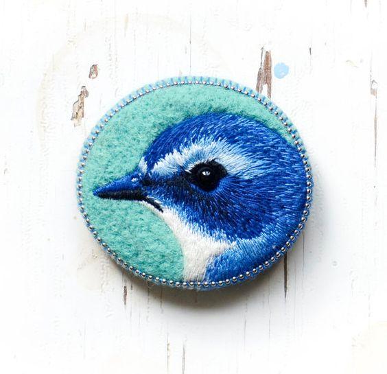 Blue bird brooch handmade felt needle felted