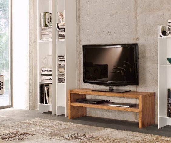 FGF Mobili Square TV Bank Solid Parawood Massivholz Lowboard Made in Itlaly