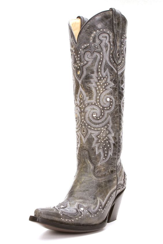 Corral Black and Grey Stud Cowgirl Boots | Western boots, Studs ...