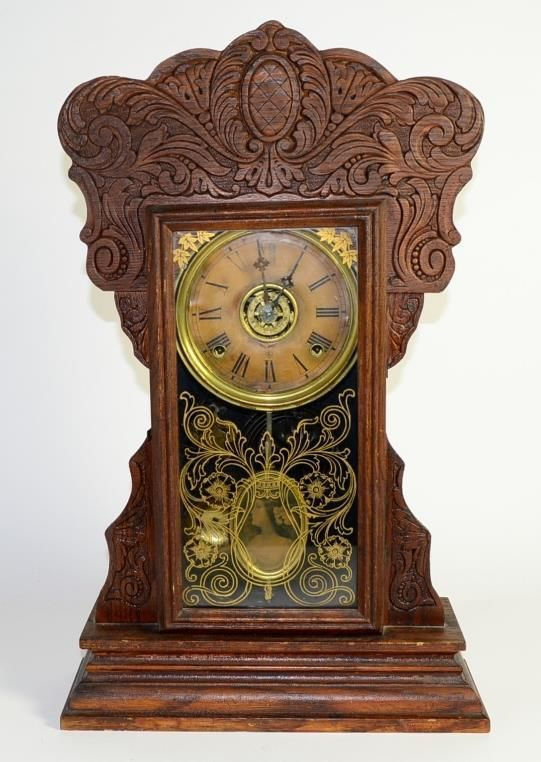 "Antique Wm L Gilbert 23"" Tall Steam Pressed Oak Shelf Clock CAPITOL NO 44 w/ Key"