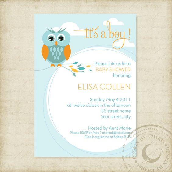 Baby Shower Invitation Template Owl Theme Boy or Girl by buljag - email baby shower invitation templates