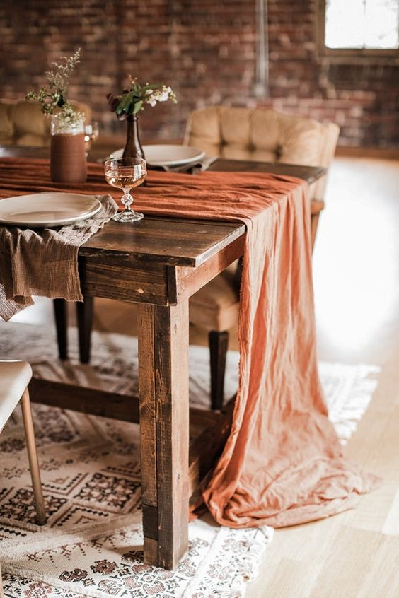 Rust Wedding Color Ideas For Cozy Fall Weddings, Terracotta Table Runner Cheesecloth Table Runner Copper, table runner