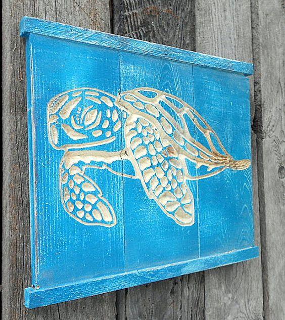 SEA TURTLE Wall Art V-CARVED - Reclaimed Wood. $26.00, via Etsy.
