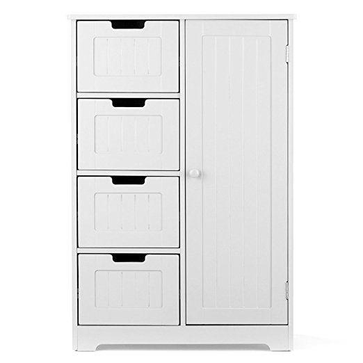 Ikayaa Wooden Floor Cabinet With 4 Drawers 2 Shelves Bathroom
