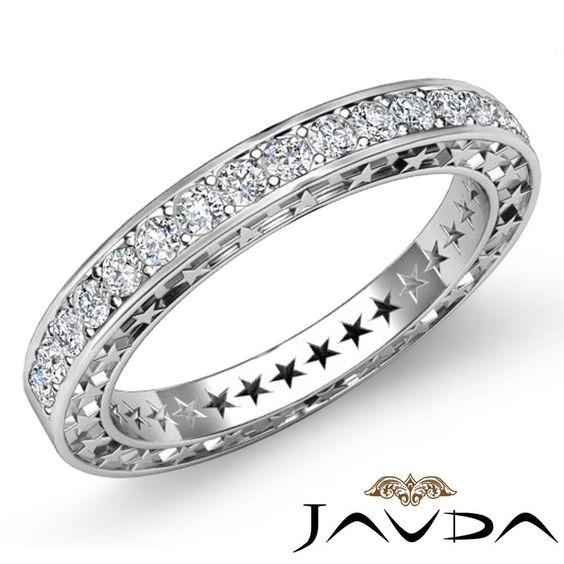 Round Pave Diamond Star Eternity Wedding Ring 14k White Gold Womens Band 0.45Ct