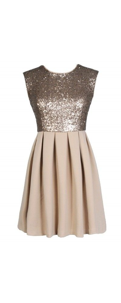 Rise and Shine Sequin Top Dress in Beige www.lilyboutique.com ...