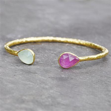 Avery Row 22ct Gold Vermeil Violet Quartz & Aqua Chalcedony 2 Stone Bangle