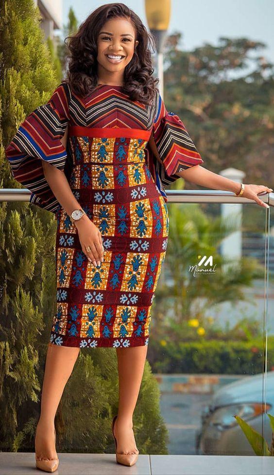 Serwaa amihere african fashion dress, African fashion styles, african print dress, ankara styles 2020, office fashion