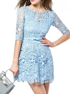 Solid Color Hollowed O-Neck Embroidery Short-Length Half Sleeve Lace Dress Party Ball Gown