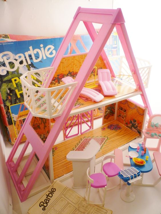 Barbie pool house 1990 collectible a frame furniture extras excellent rare find pool houses for Barbie doll house with swimming pool