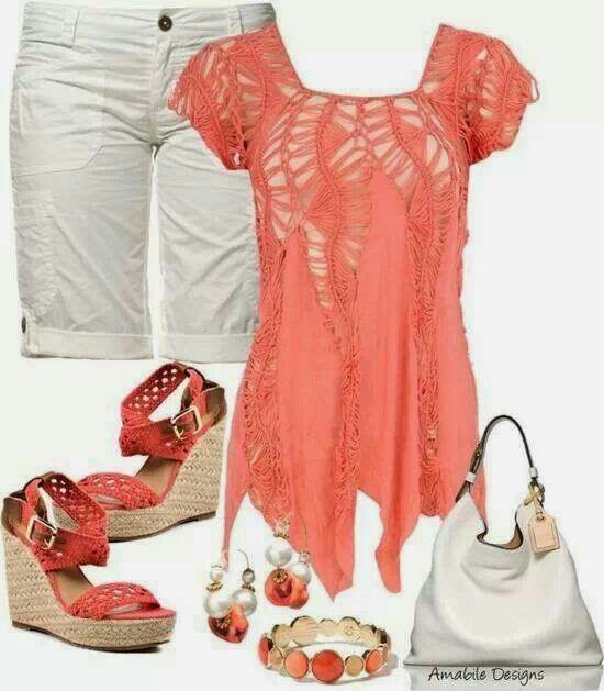 Coral y blanco