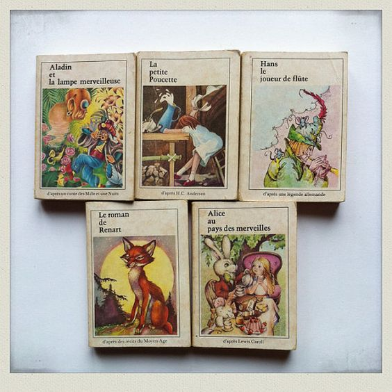 Rare collection 5  tiny childrens book 1970 by Papeteriedeparis, $40.00