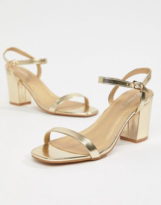 Glamorous Wide Fit Gold Block Heeled
