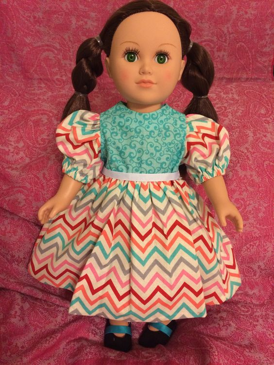 American Girl doll dress. From the Spring Collection. Colorful flowing, long zig zag detail dress.