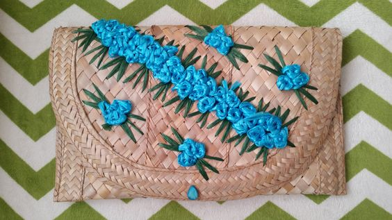 Woven Straw Clutch with Blue Floral Embroidery by DirtyPopAccessories on Etsy