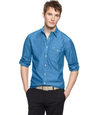 Kenneth Cole Reaction Shirt, Long Sleeve Chambray Shirt - Mens Casual Shirts - Macy's