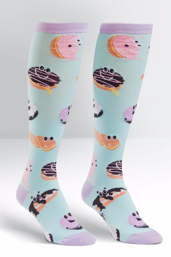 These guys will melt your heart and whet your appetite. Don?'t get jelly the next time you see someone with a donut, just flaunt your knee highs to let them know you're a part of the pastry appreciation club. Approximately fits women's shoe 5-10.   Dough-Eyed Socks by Sock it to me. Accessories - Socks Mississippi