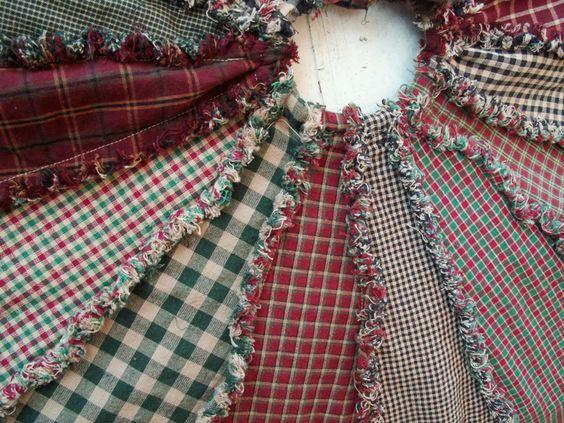 Primitive Homespun Ragged Christmas Tree Skirt Handmade- I cant sew but maybe…