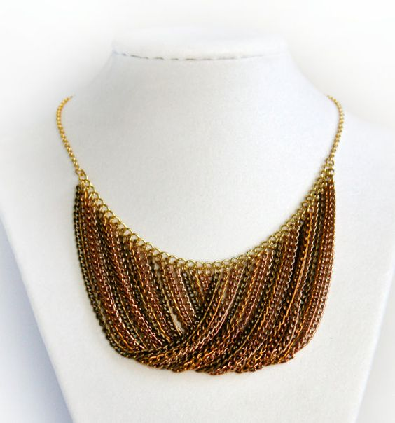 Chain Bib Necklace Copper Bronze and Gold Autumn by PokeBespoke, $22.50