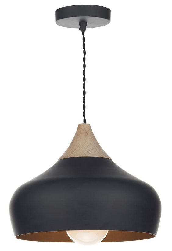 GAUCHO pendant by Dar Lighting: A really on-trend retro piece perfect for over the dining room table or kitchen island! http://www.sherwoodlighting.co.uk/by-type/modern/modern-ceiling-lights/modern-pendants/gaucho-matt-black-and-wood-pendant