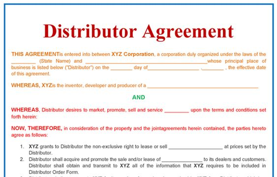 Exclusive Distribution Agreement Template Free Download
