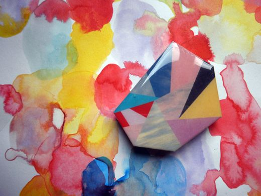 geometric arty resin brooch
