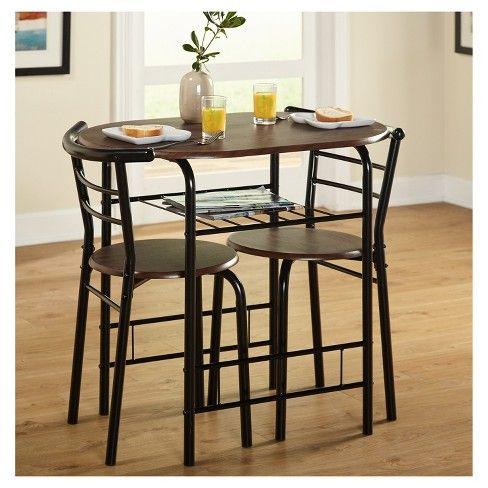 3 Piece Bistro Set Metal Espresso Tms Brown Dining Furniture