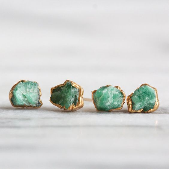 RAW EMERALD STUDS – 24K GP // 24k gold plated raw emerald stone earrings, with your choice of ear post. Made to order: