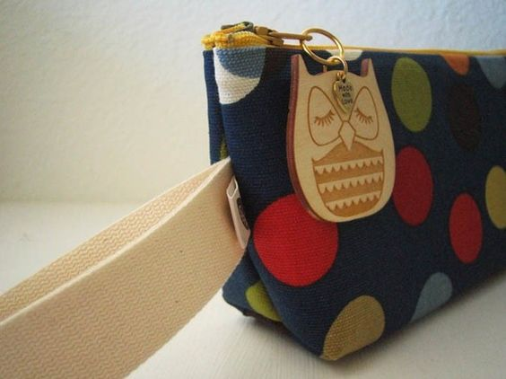 Stewart the Owl Navy Blue Scandinavian Polka Dot Print Cotton Canvas Carry All Case with Wooden Engraved Zipper Pull $28