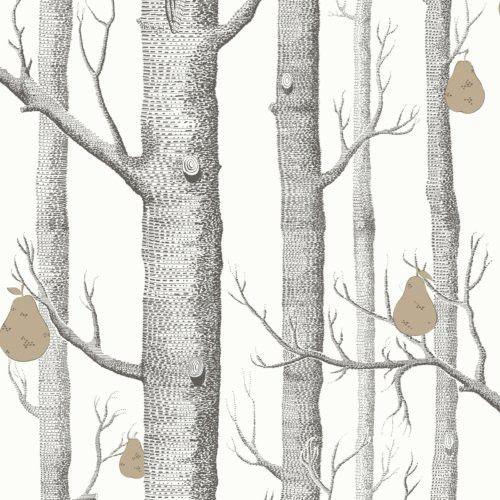 Cole & Son WOODS & PEARS BLK/WHT/BRNZ Wallpaper