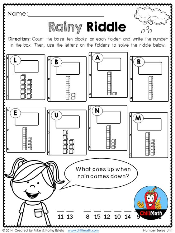 Math + Riddle = FUN! Great activity for your kiddos to practice counting and writing numbers to 15 using base ten blocks. More engaging activities like this in this Number Sense unit.