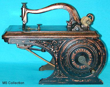 After Pilbeam's patent, this particular Alexandra Lockstitch machine features a highly unusual cast iron support, which also facilitates the crank handle. The machine was manufactured in the UK and dates from the 1860s.: